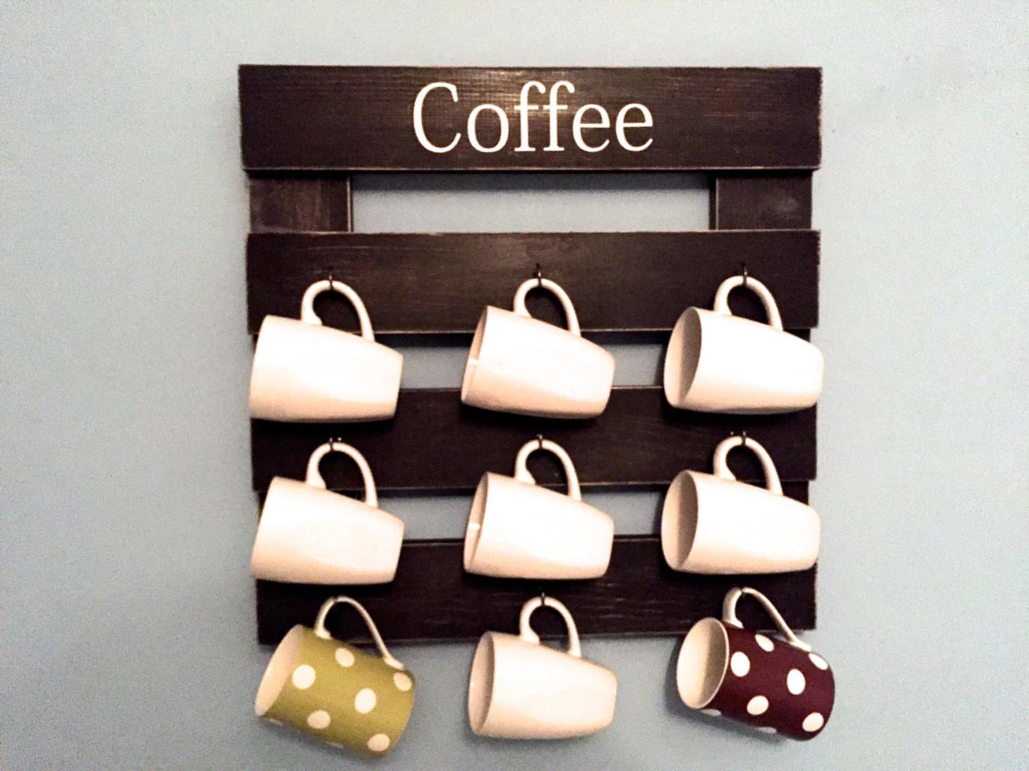 Coffee Mug Rack Cup Display Reclaimed Wood Kitchen Storage
