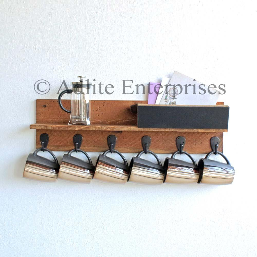 Coffee Mug Rack Holder Rustic