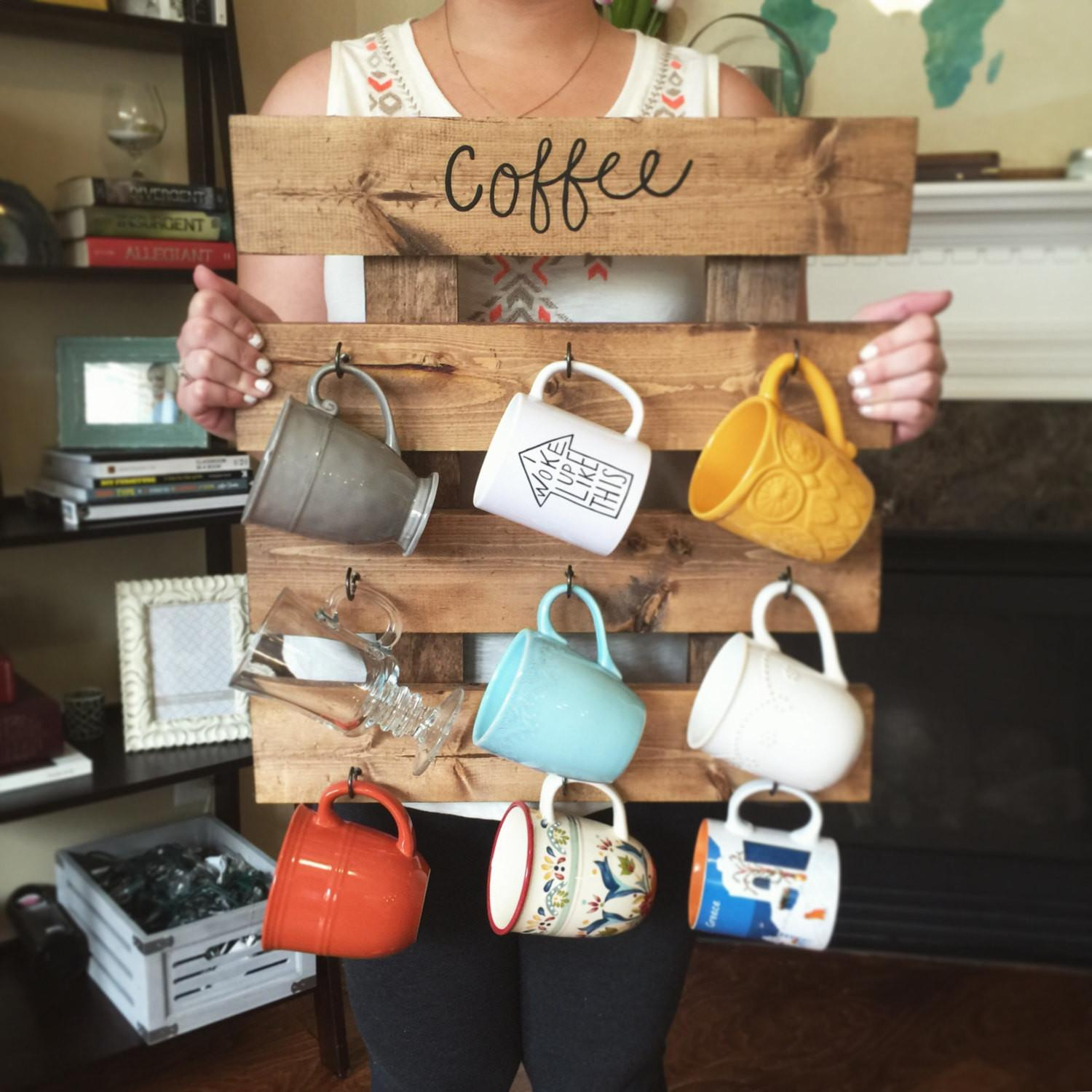 Coffee Mug Rack Reclaimed Wood Look Cup
