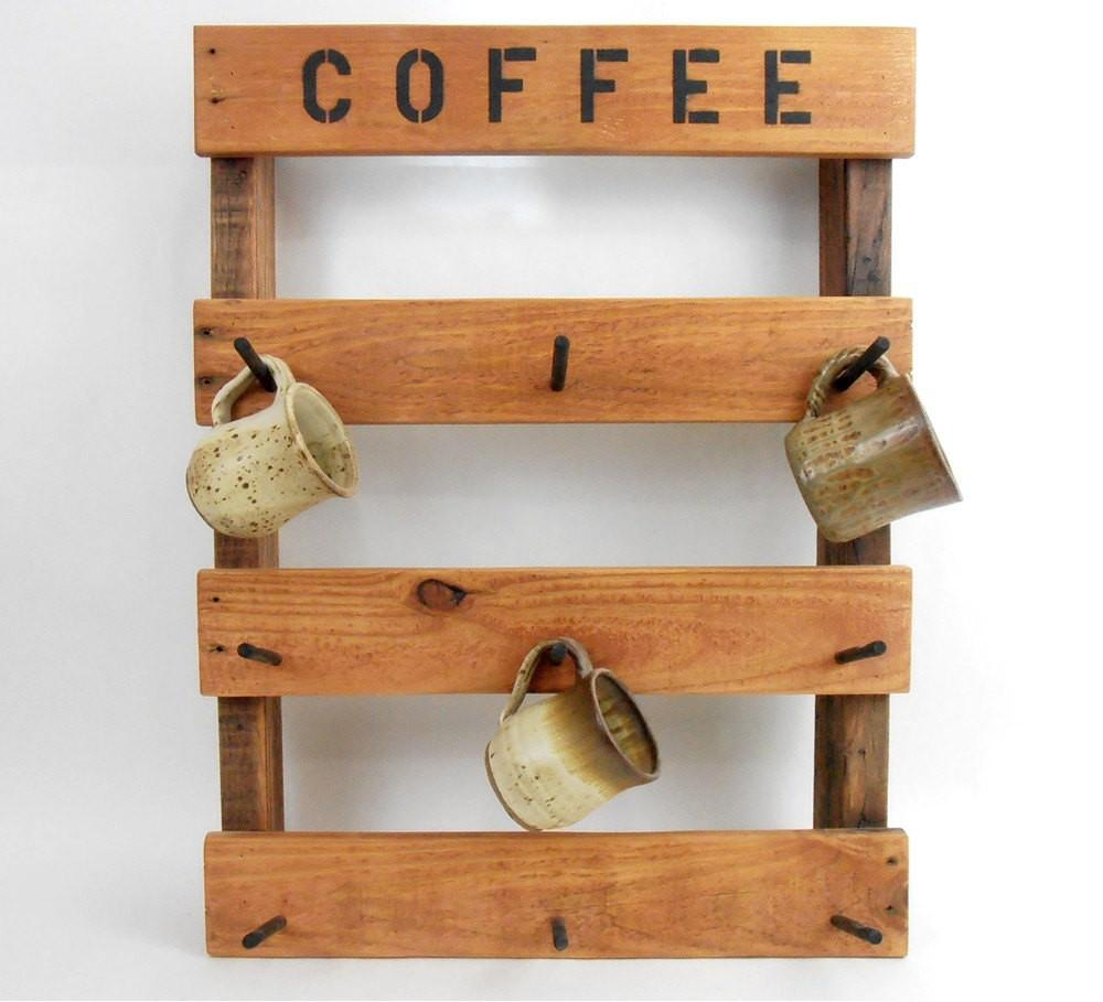 Coffee Mug Rack Rustic Pallet Wood