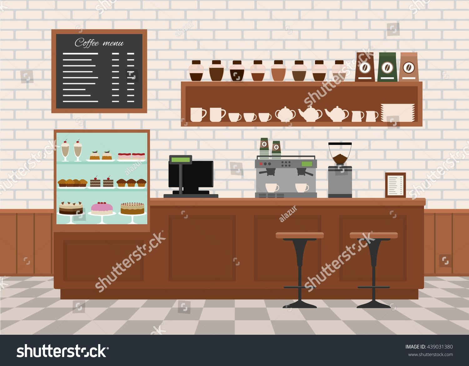 Coffee Shop Interior Flat Design Vector Stock
