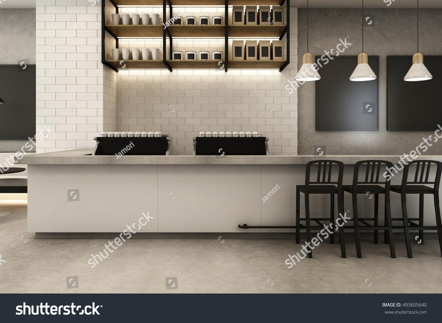 Coffee Shop Loft Modern Render Stock Illustration