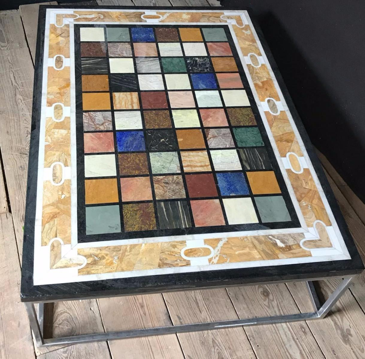 Coffee Table Marble Inlay Tablet Metal Base Tables