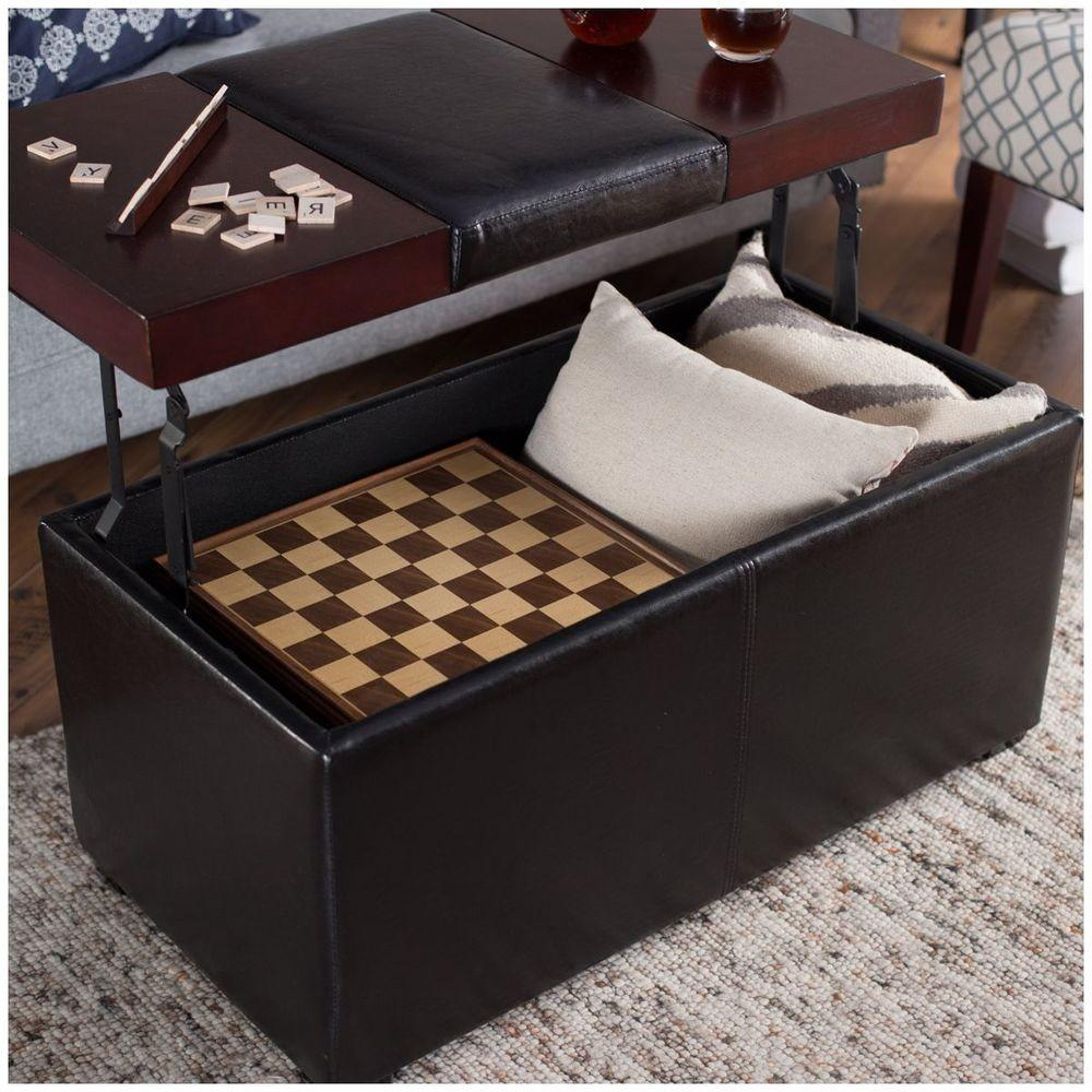 Coffee Table Ottoman Lift Top Faux Leather Storage Bench