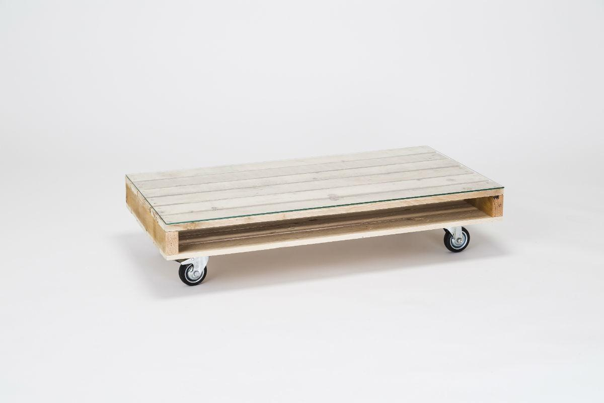 Coffee Table Wheels Glass Top Pallet Furniutre