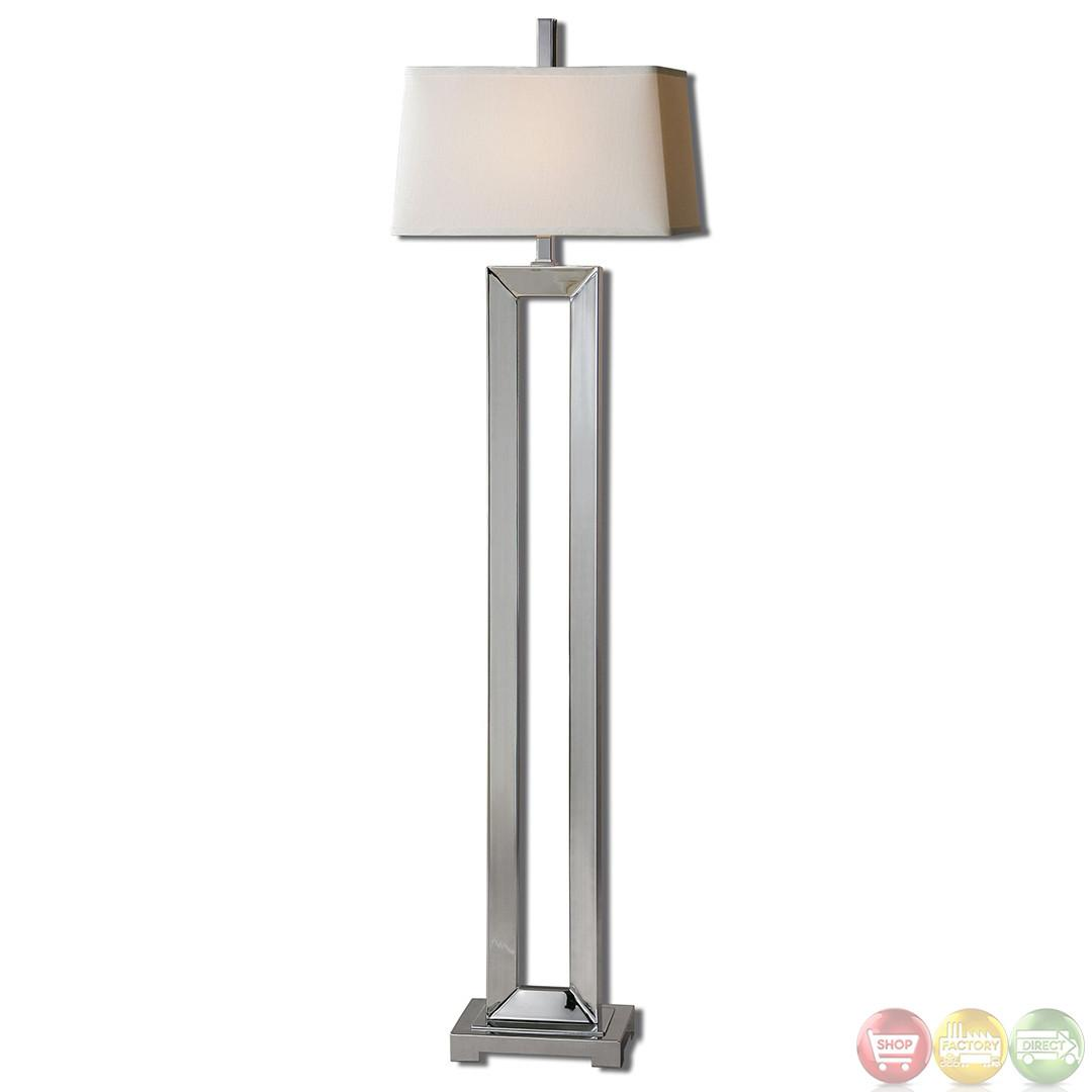 Coffield Polished Chrome Metal Column Modern Floor Lamp