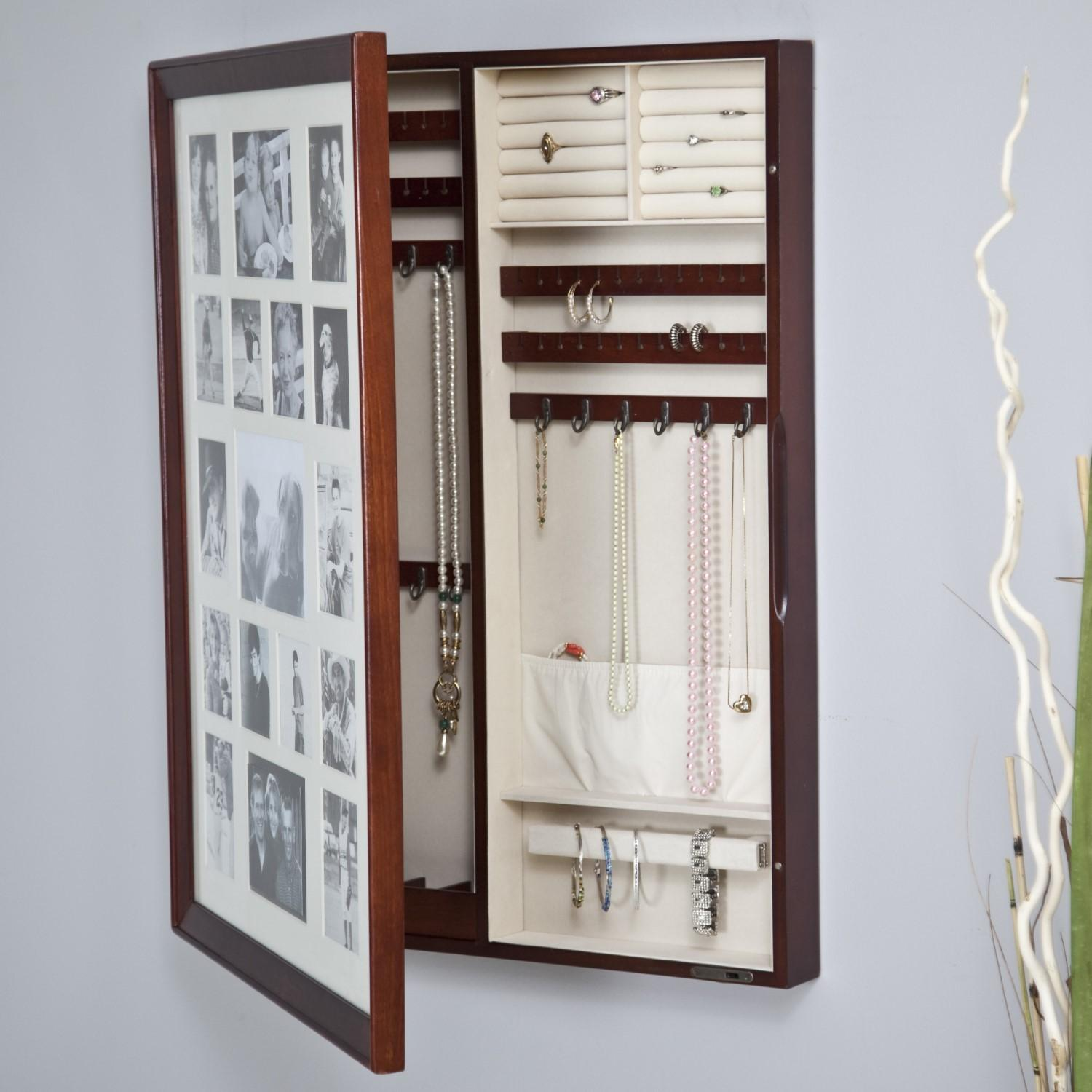 Collage Frame Wooden Wall Locking Jewelry Armoire