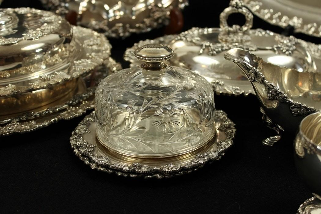 Collection Silver Plated Serving Pieces Grape Pattern