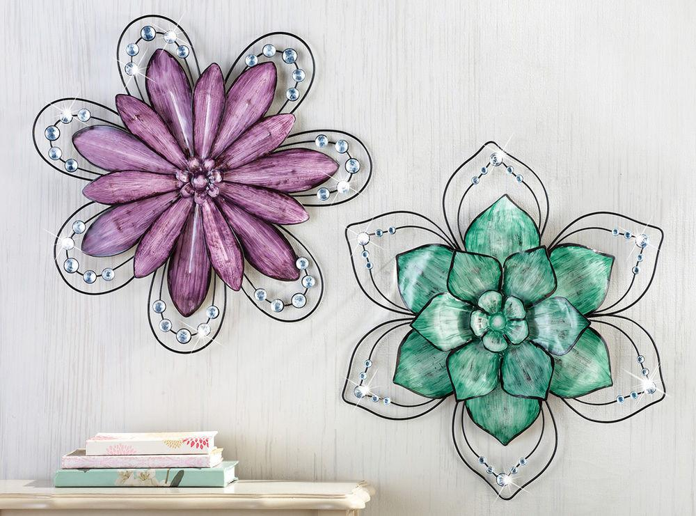 Collections Etc Gemstone Floral Metal Wall Art