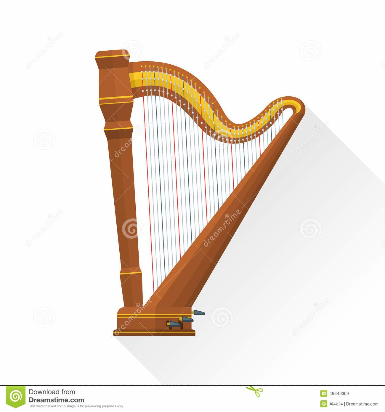 Color Flat Style Vector Pedal Harp Stock