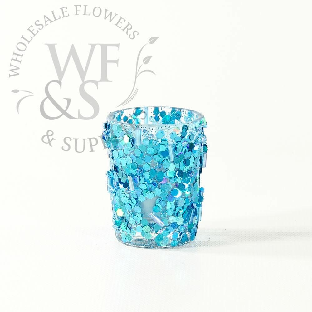 Colored Beaded Glass Votive Candles Ice Blue Wholesale
