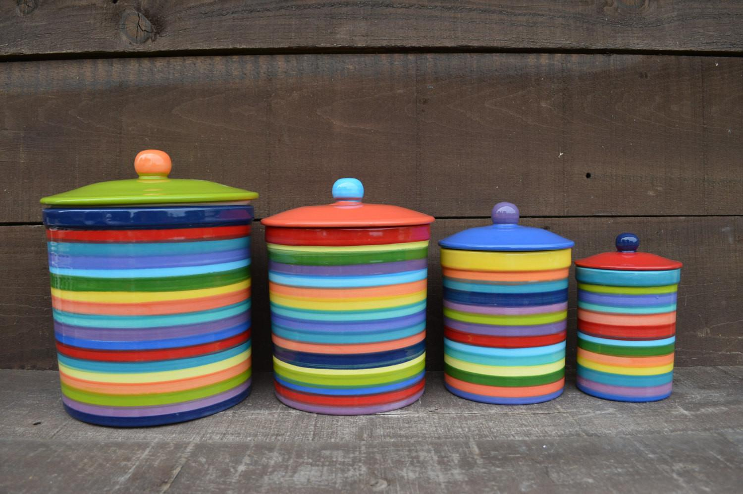 Colored Kitchen Canisters One Kind Set Rainbow