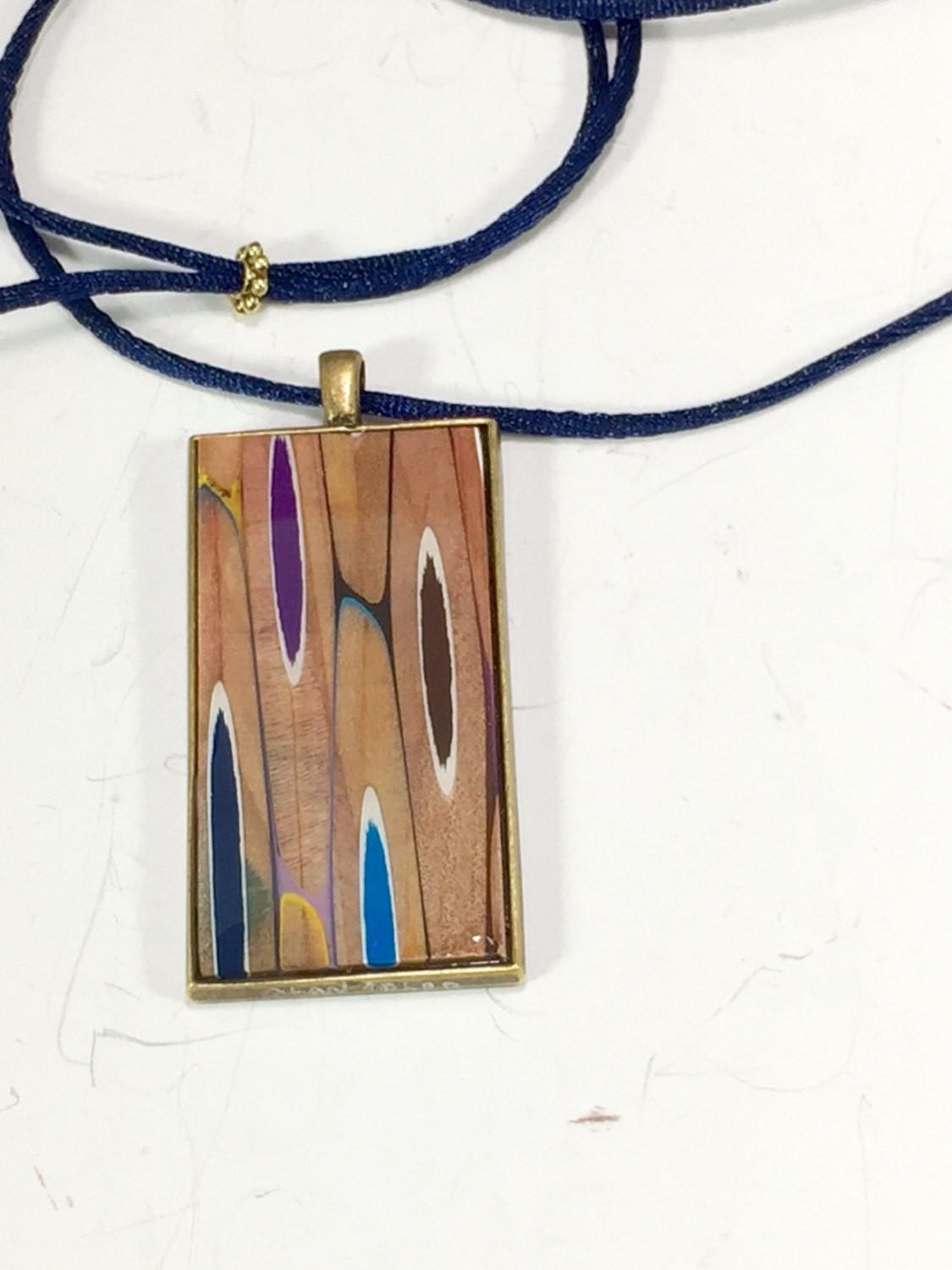 Colored Pencil Necklace Pendant Wood Jewelry