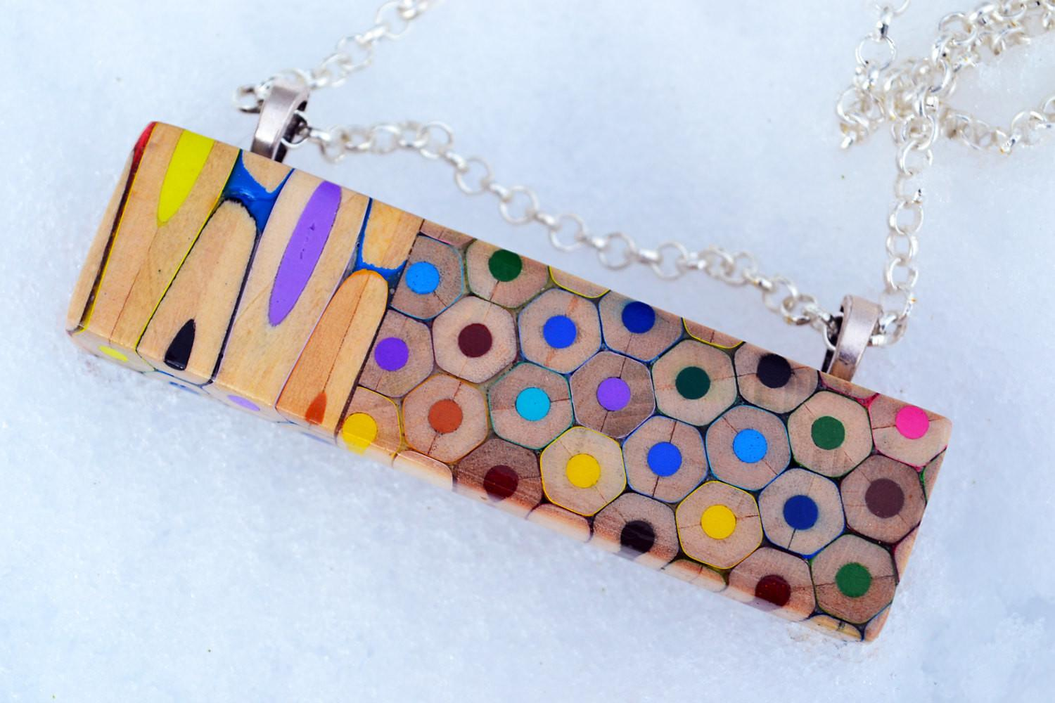 Colored Pencils Necklace Rectangle
