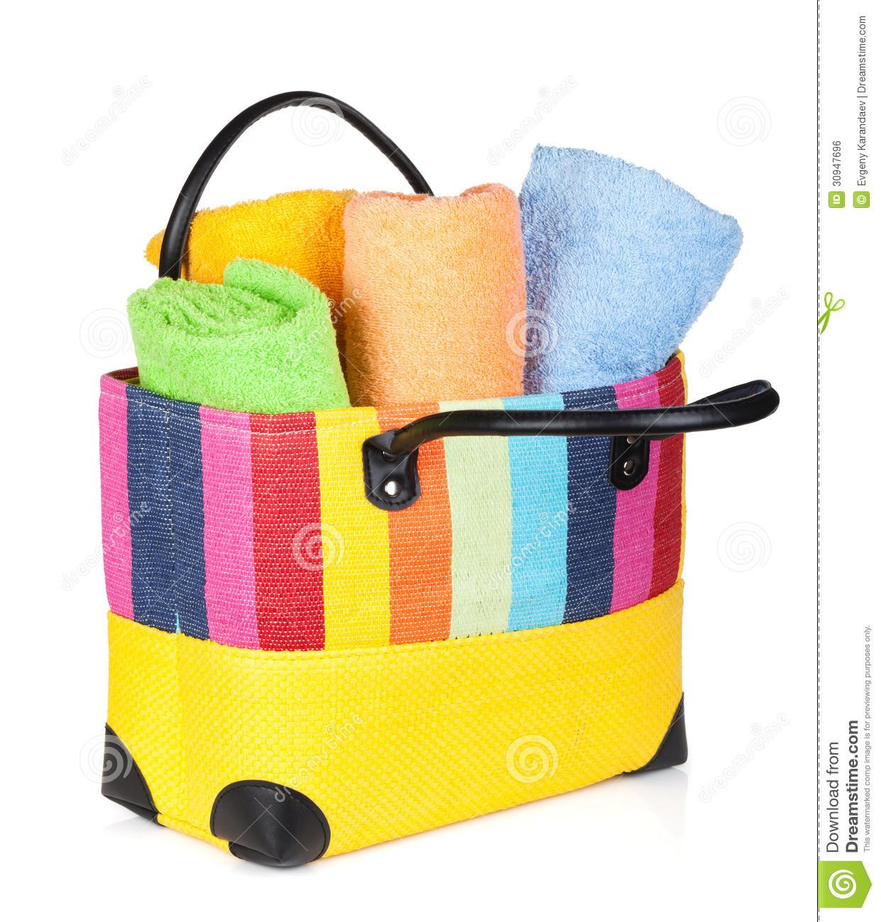 Colorful Beach Bag Towels Stock