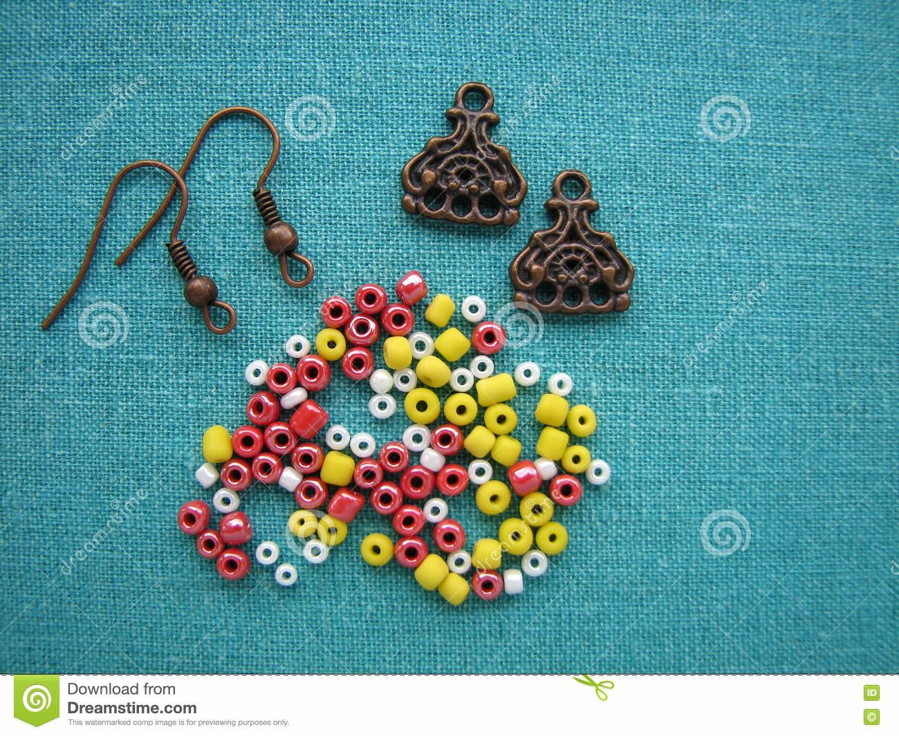 Colorful Beads Pieces Making Earrings Handmade