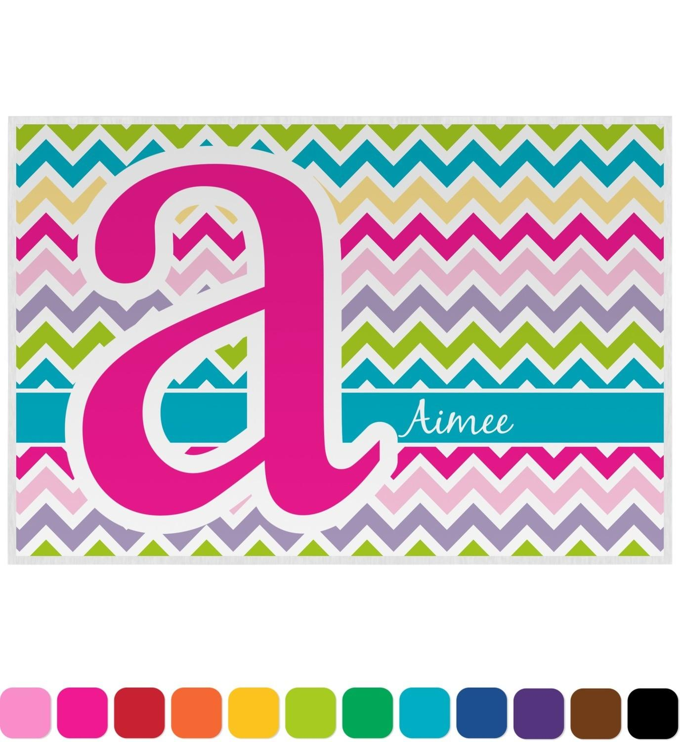 Colorful Chevron Placemat Laminated Personalized