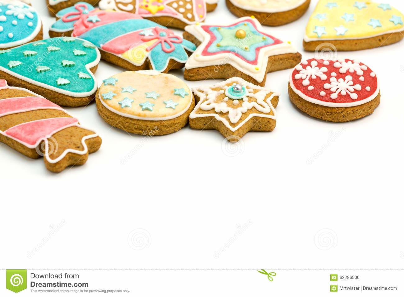 Colorful Decorated Gingerbread Cookies Stock