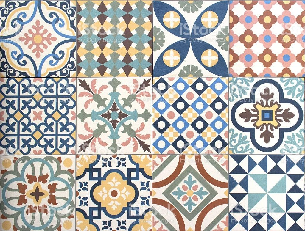 Colorful Decorative Tile Pattern Patchwork Design Stock