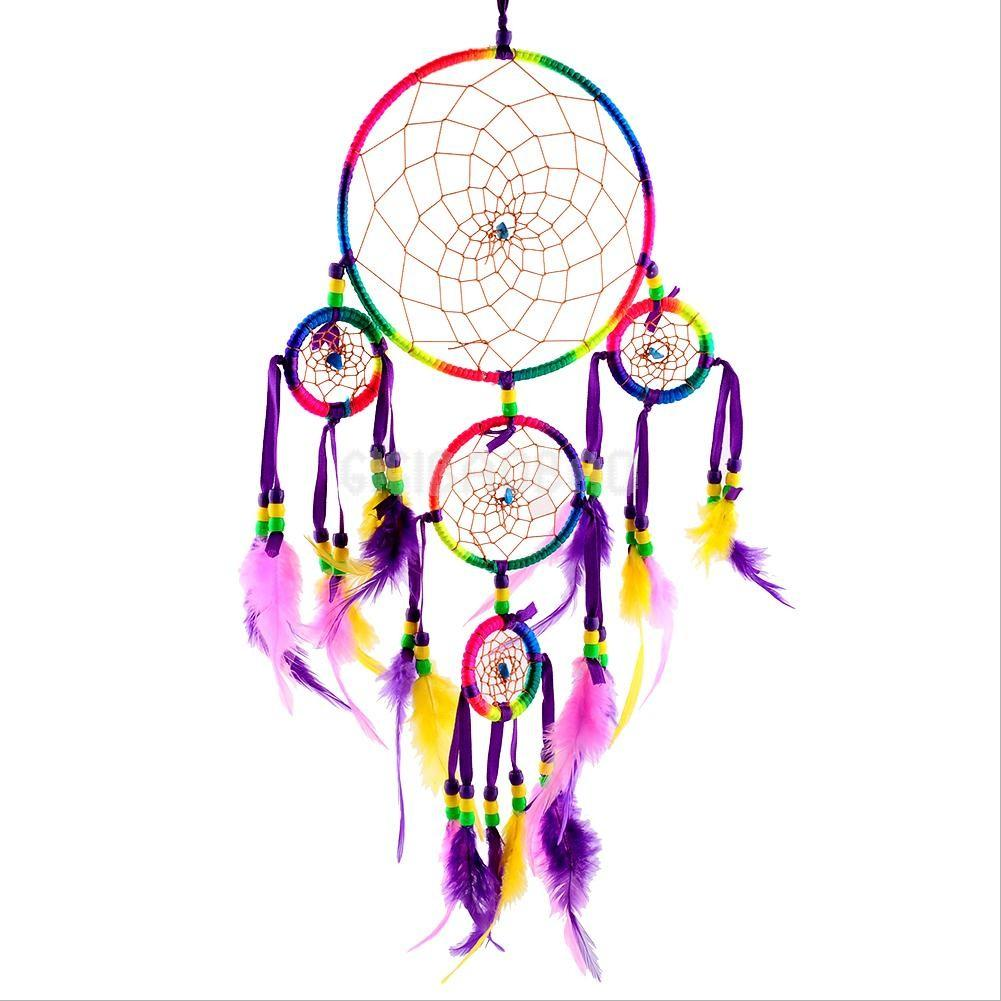Colorful Dream Catcher Feathers Wall Hanging