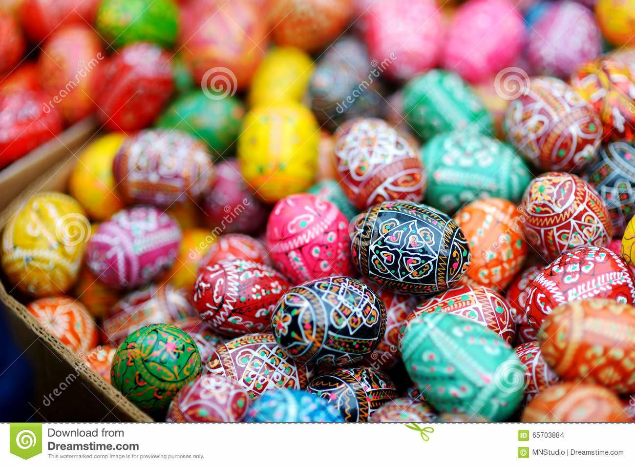 Colorful Easter Eggs Sold Annual Traditional Crafts