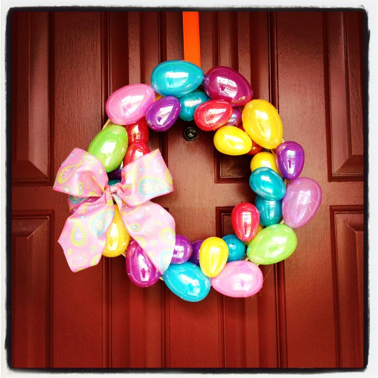 Colorful Easter Wreath Diy Egg Pinsandpetals