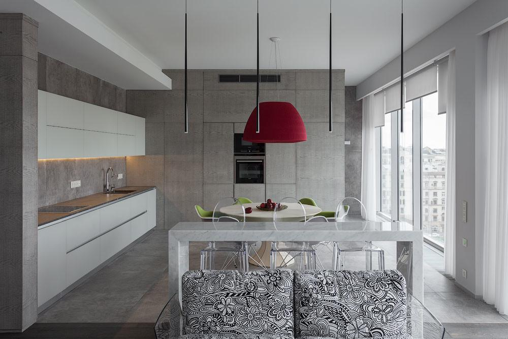Colorful Flat Moscow Contrasting Modern Counter