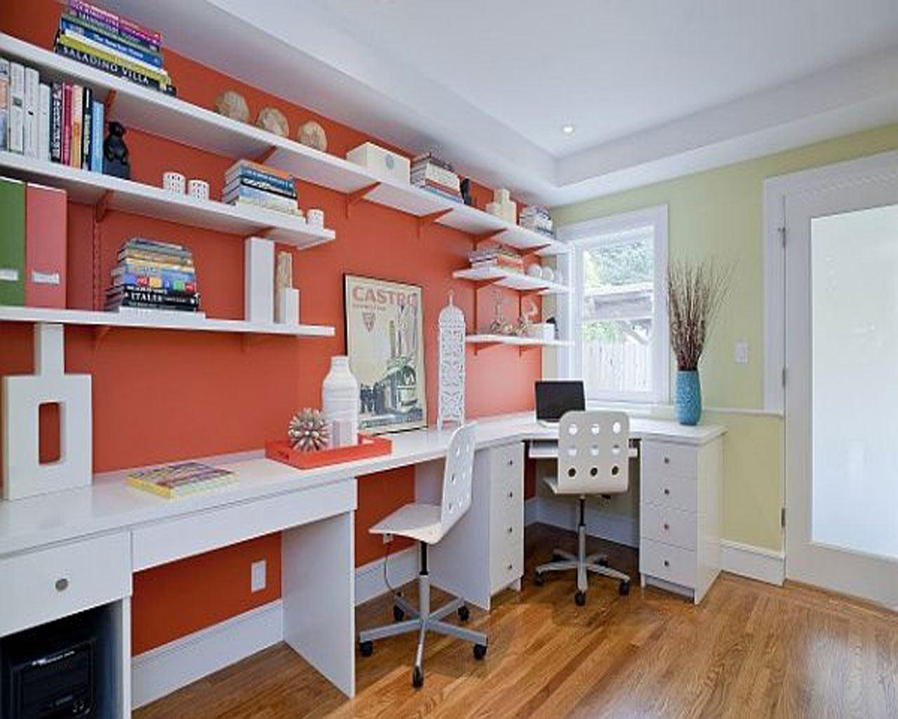 Colorful Home Office Design Cherry White Wood Filling