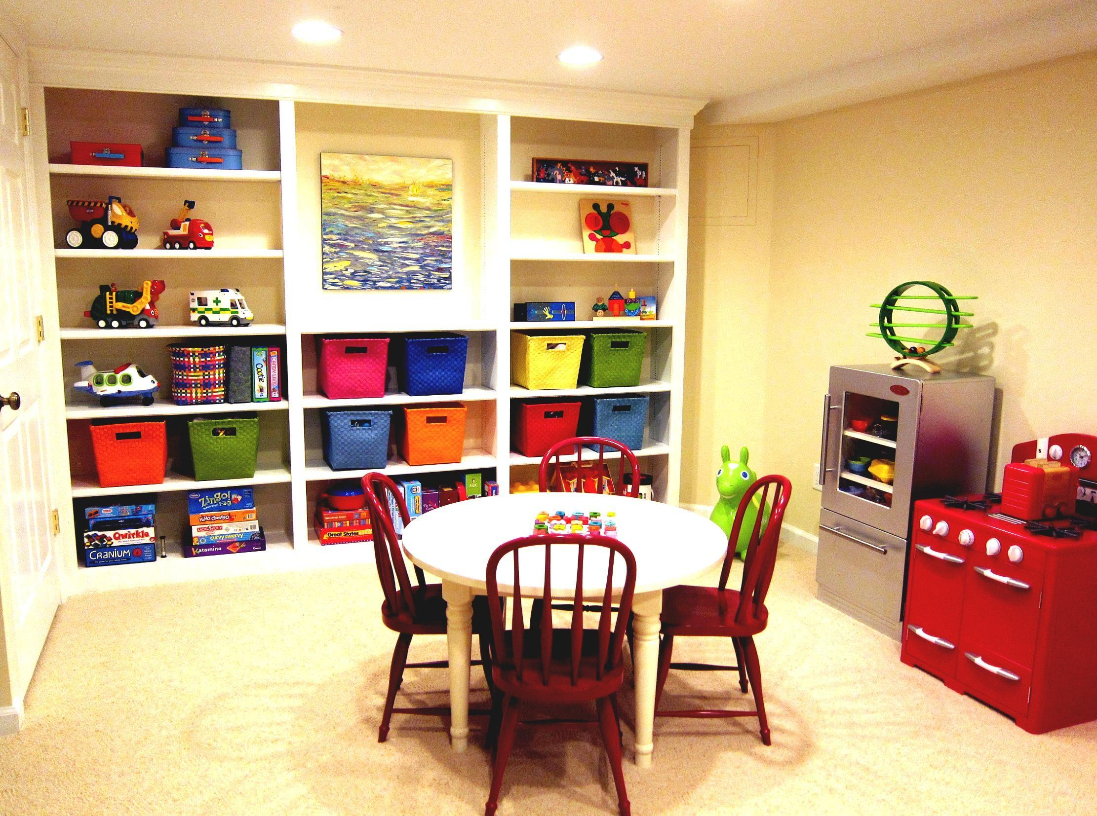 Colorful Kids Playroom Finishing Basement Ideas