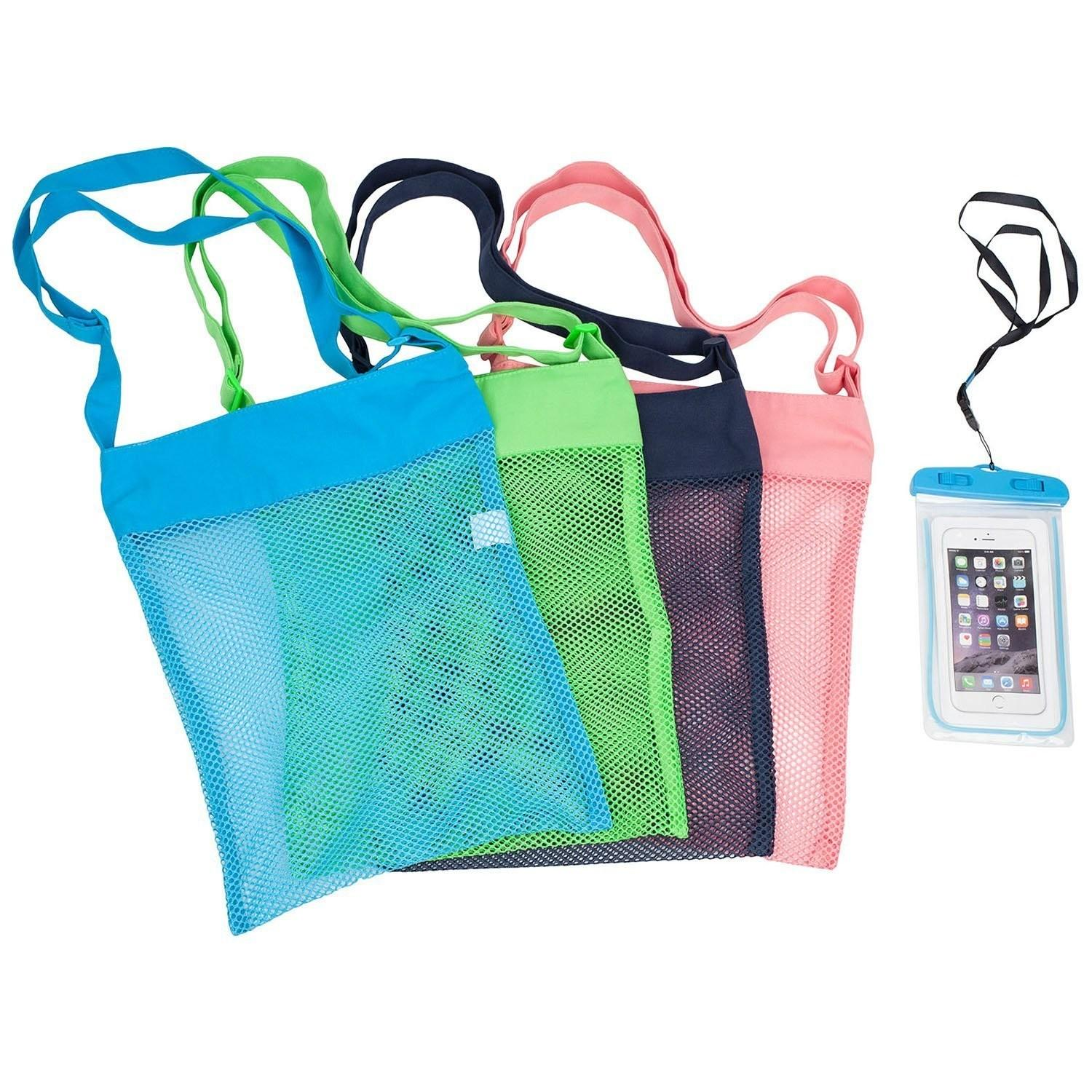Colorful Mesh Beach Bags Pack Large Seashell Tote