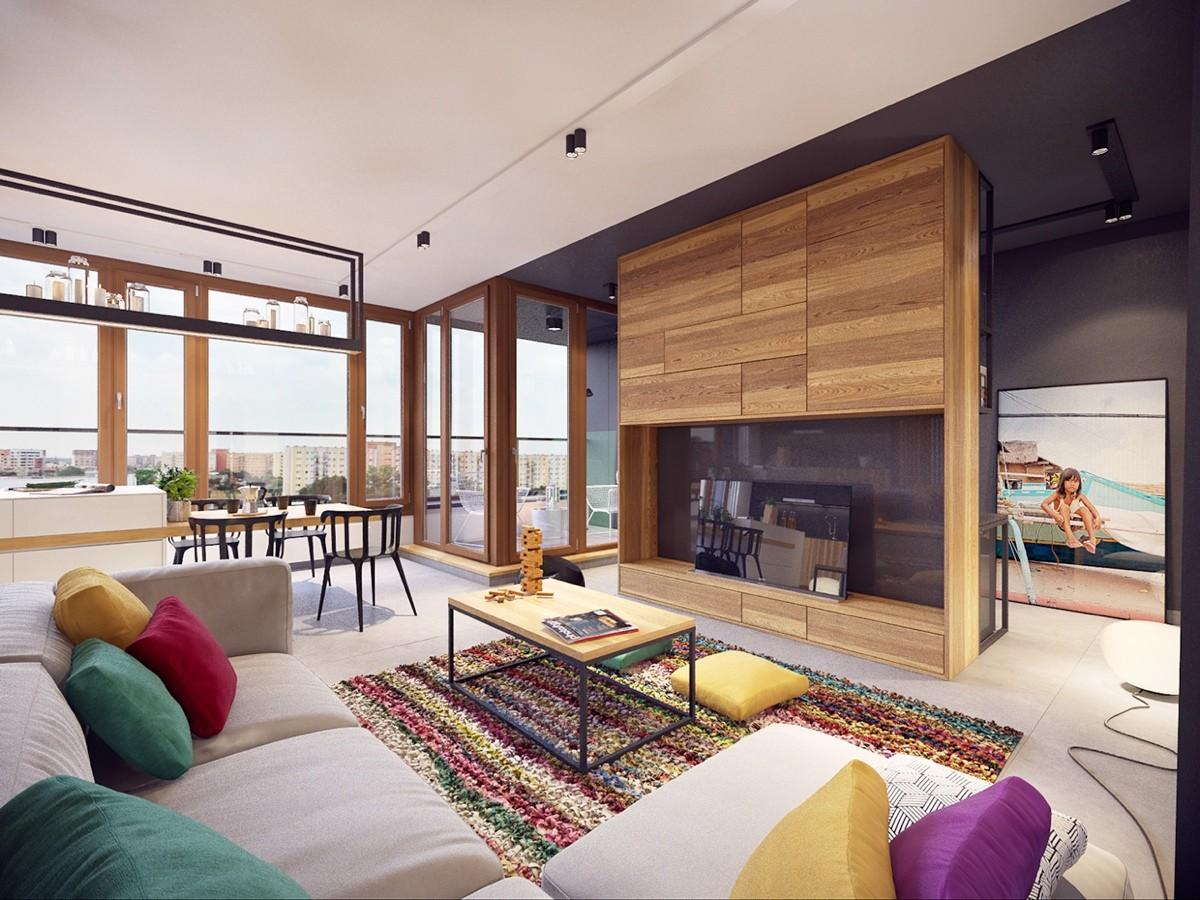 Colorful Modern Apartment Design Uses Space Beautiful