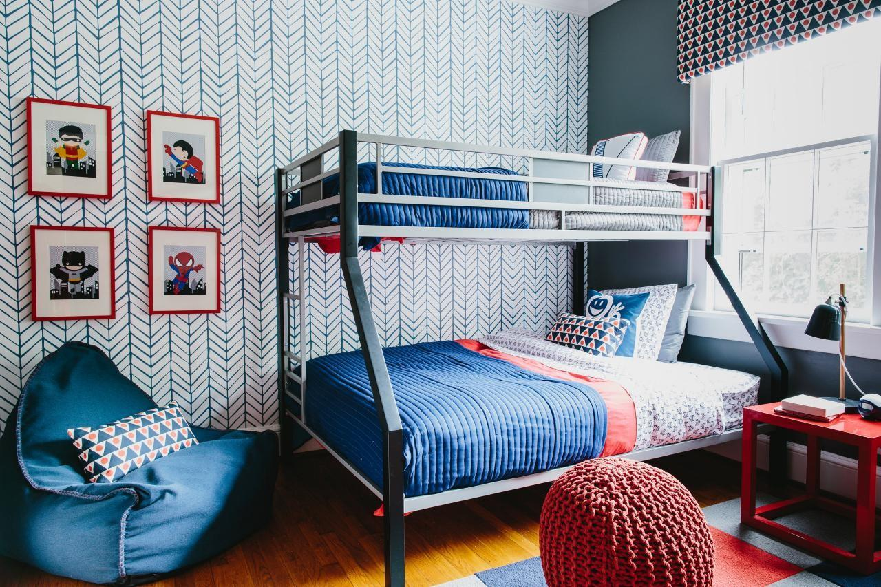 Colorful Pattern Filled Shared Boys Bedroom 2014