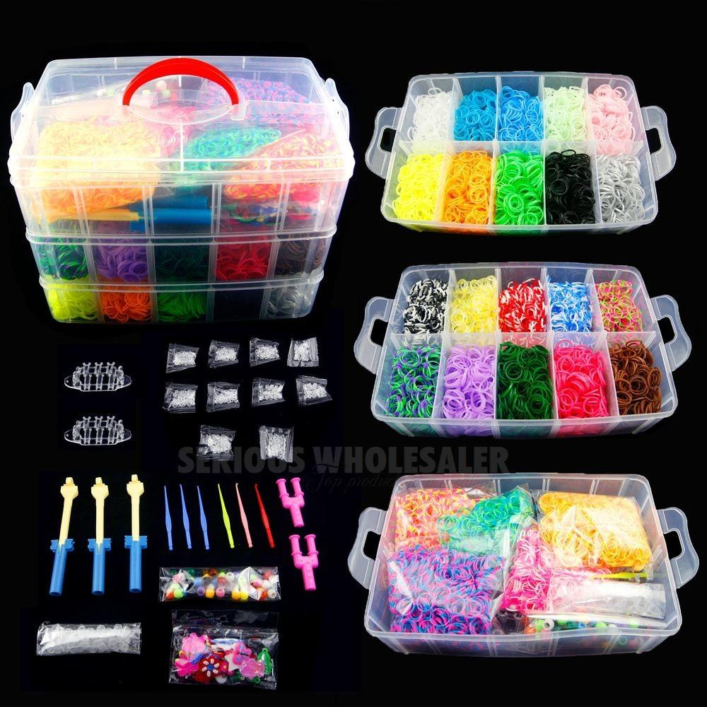 Colorful Rainbow Rubber Bracelet Loom Bands Making
