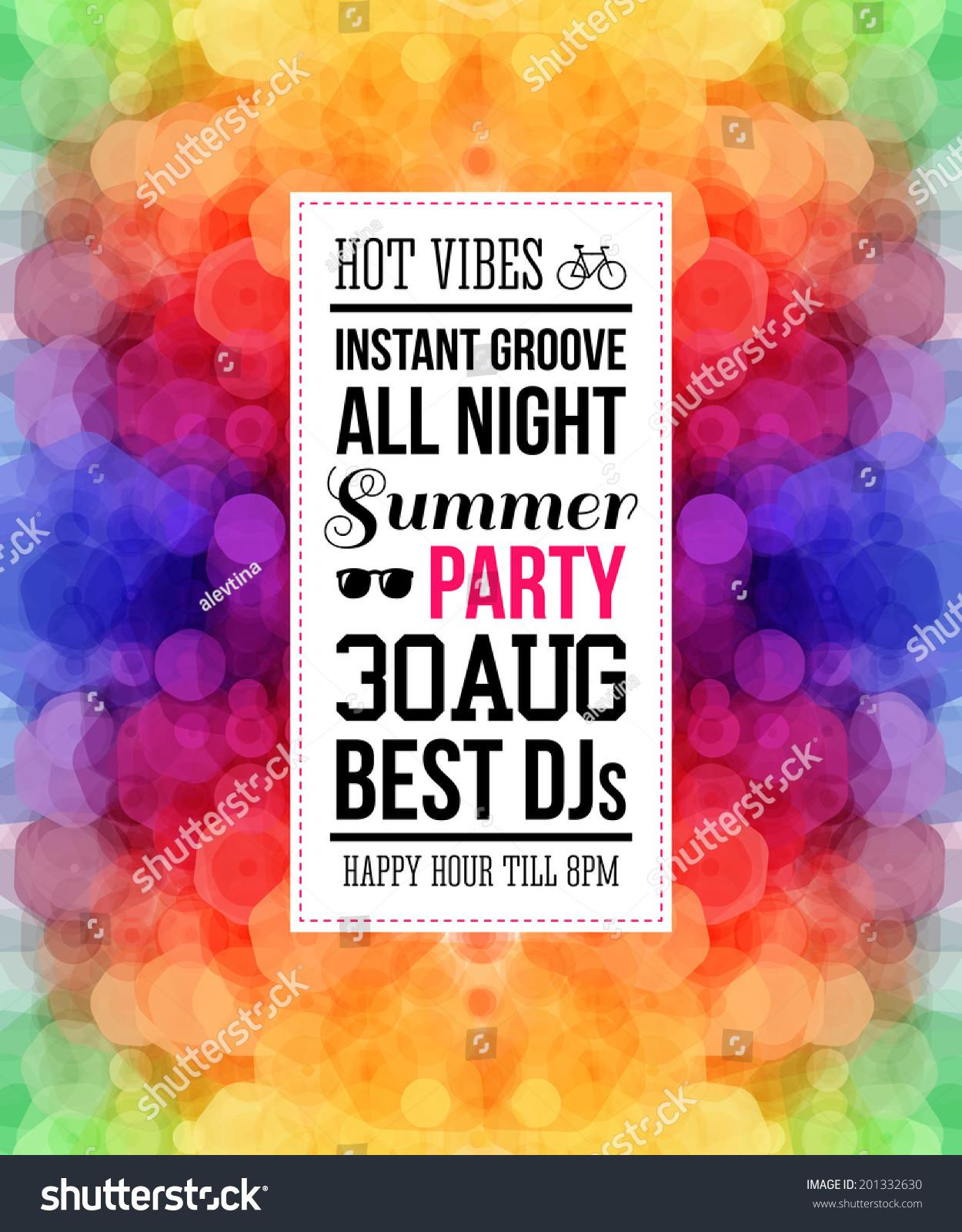Colorful Rainbow Summer Party Poster Bright Hexagonal