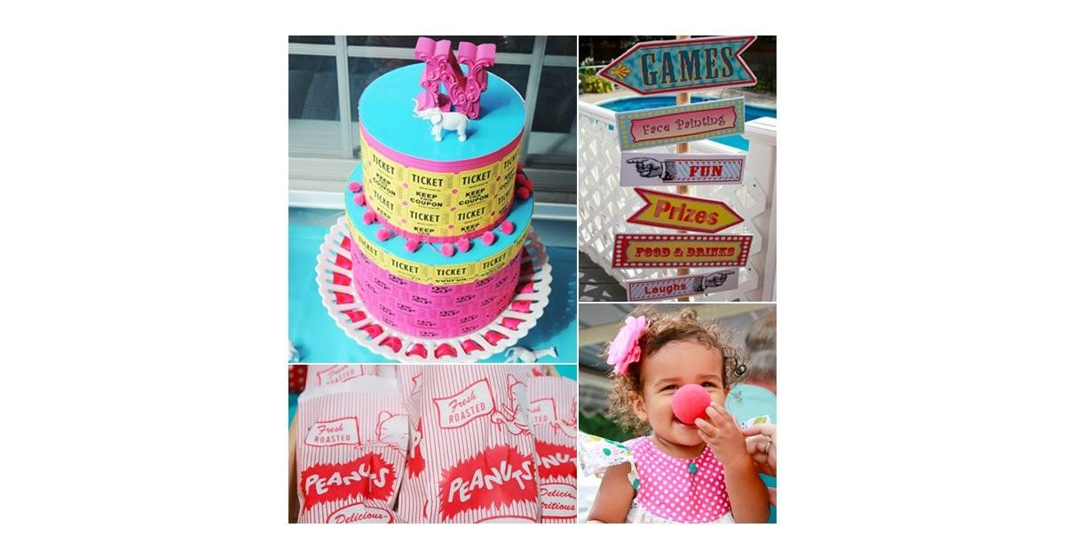 Colorful Summer Circus First Birthday Party Creative