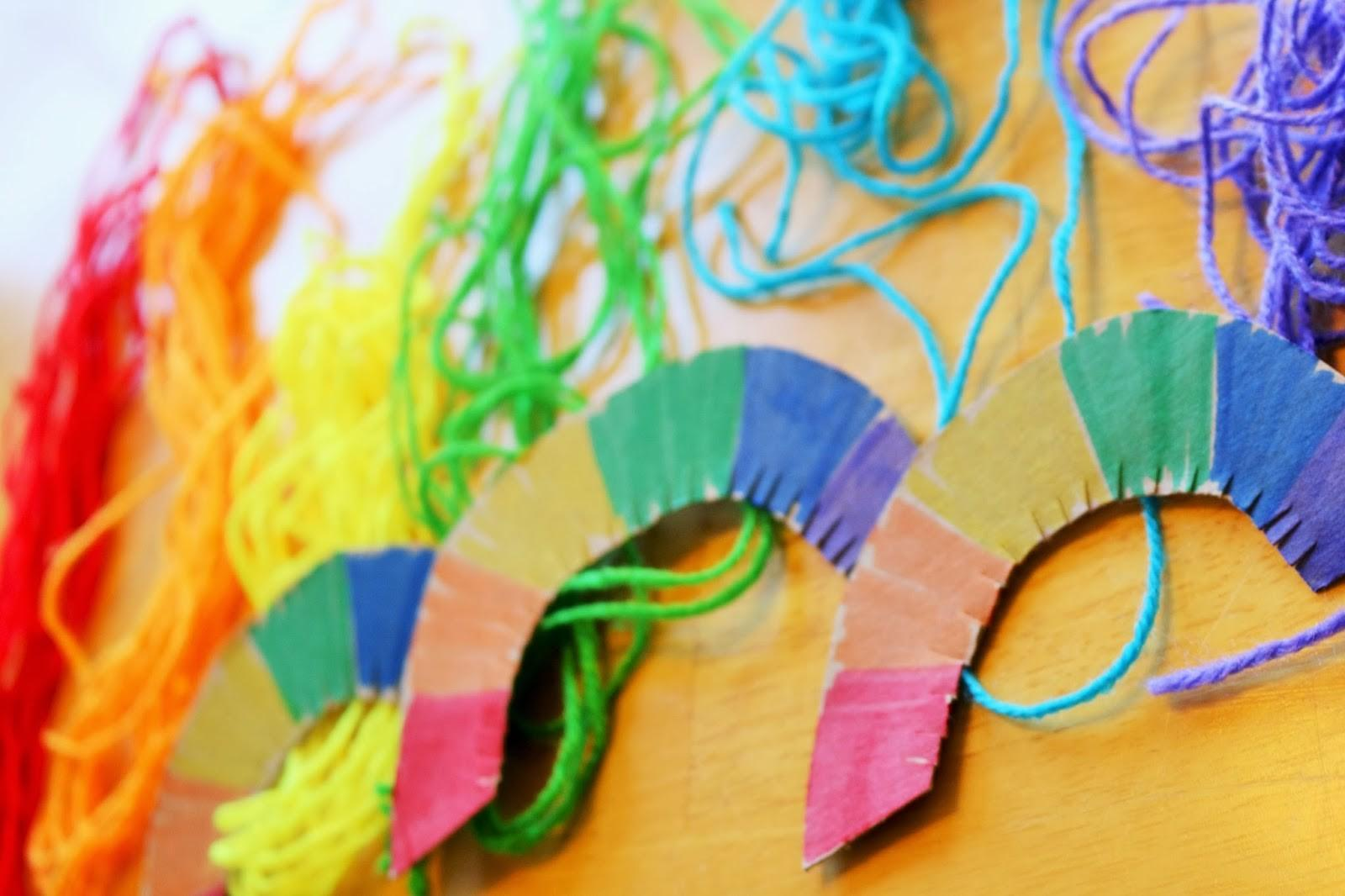 Colorful Yarn Wrapped Rainbow Craft School Time Snippets