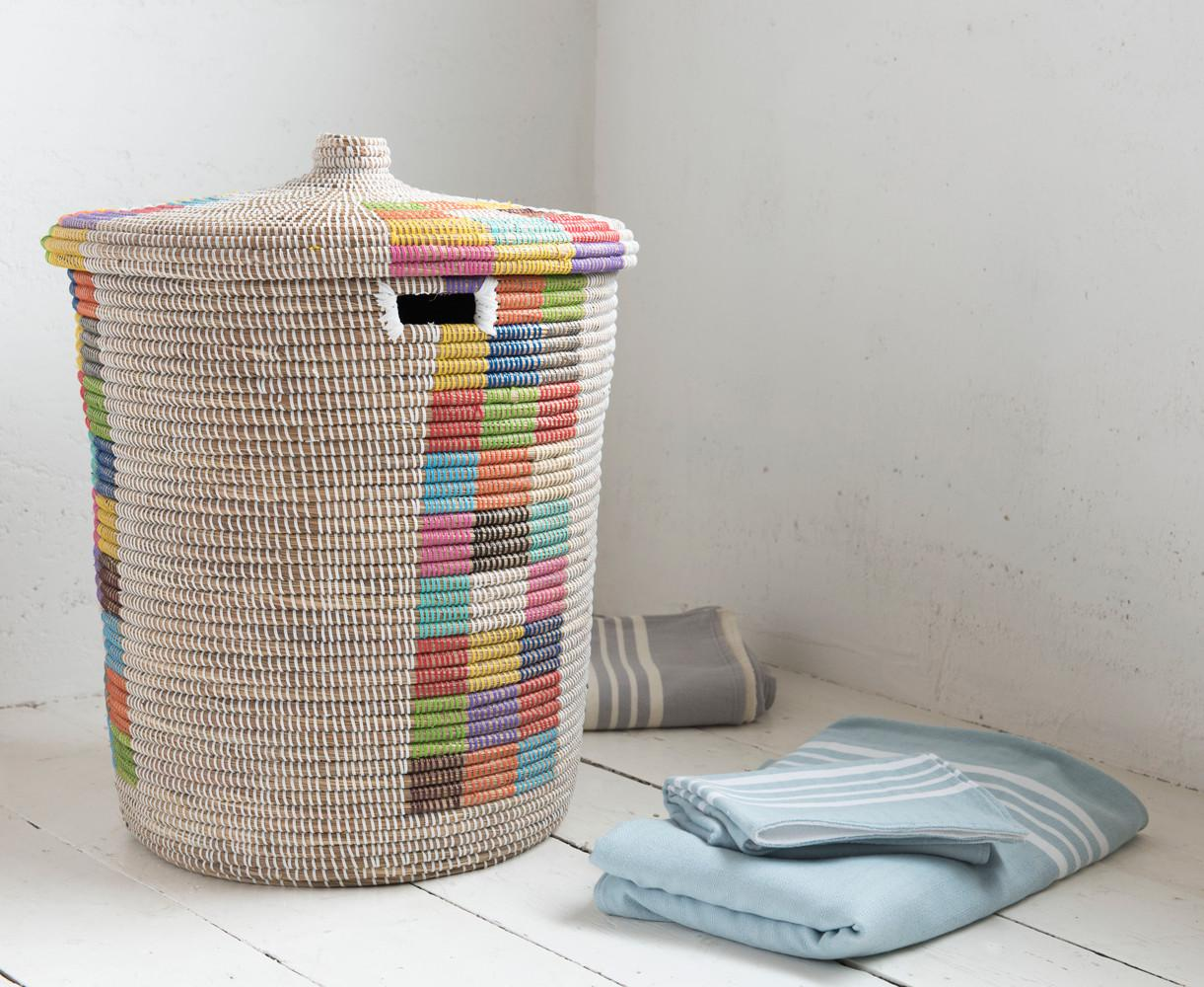 Colour Woven Laundry Basket Sierra