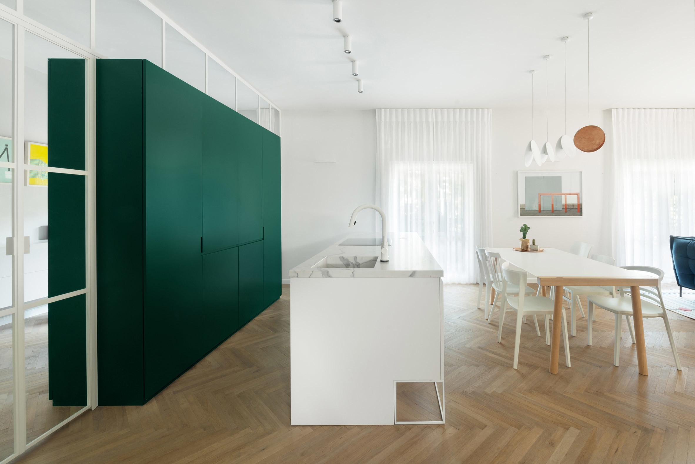 Colourful Cabinetry Offsets White Interior Bauhaus Era