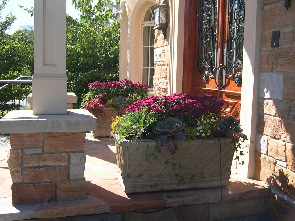 Colourful Fall Planters Front Door Bel Air