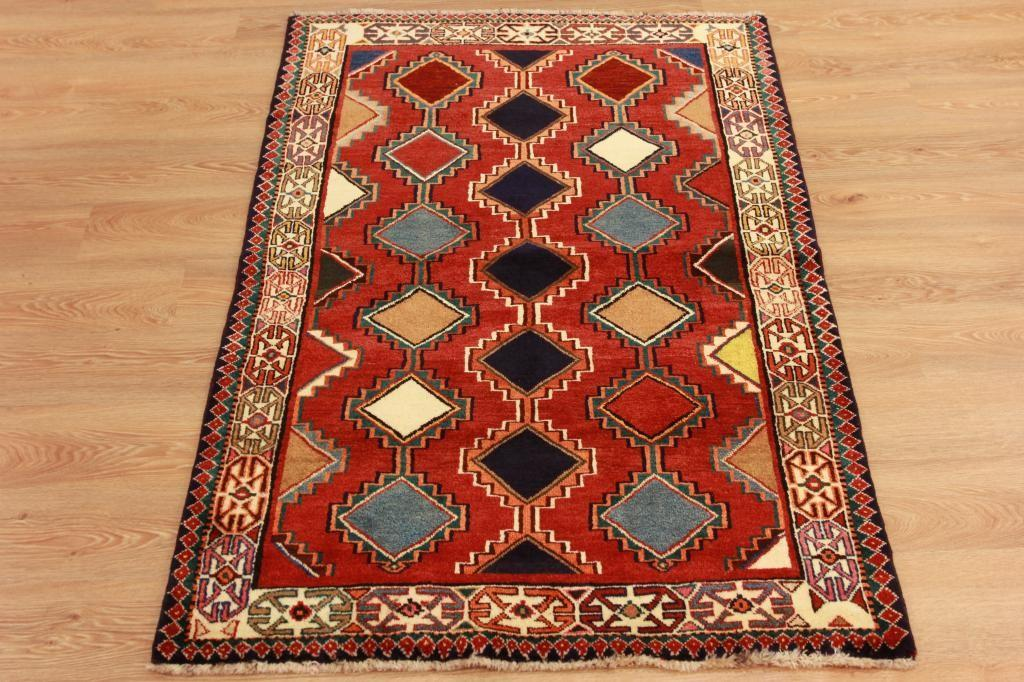 Colourful High End Handmade Oriental Carpet Red Geometric
