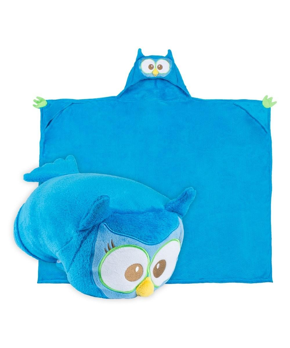 Comfy Critters Blue Olive Owl Critter Hooded