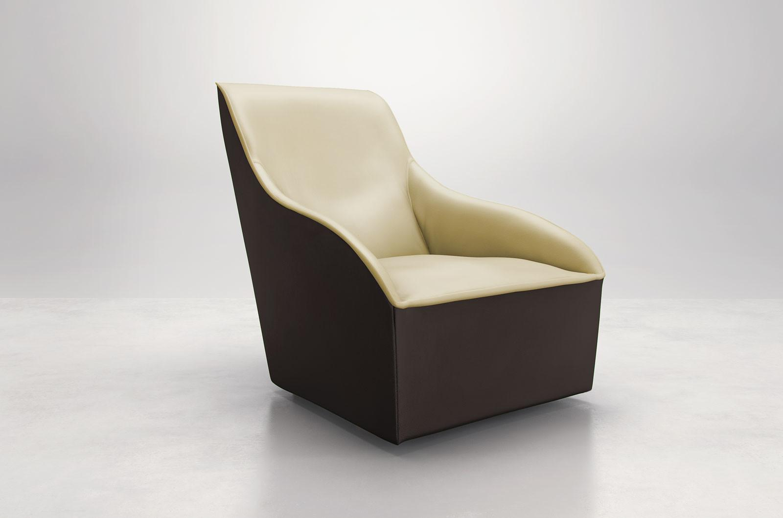 Comfy Curvy Contemporary Leather Arm Accent Lounge Chair