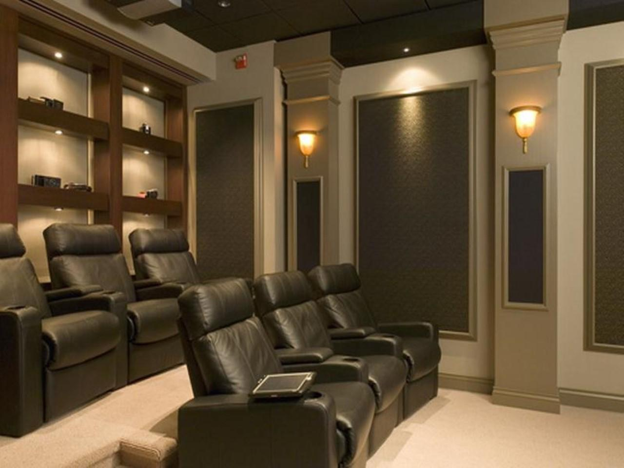 Comfy Home Theater Room Black Leathered Chairs