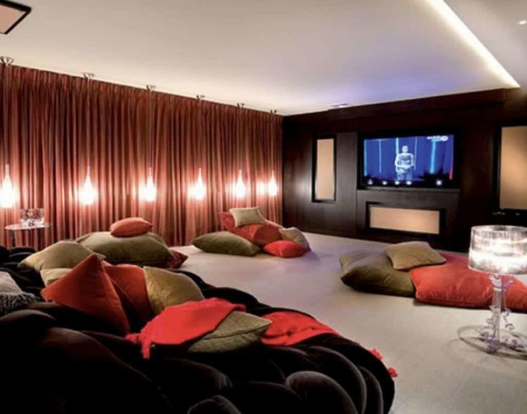 Comfy Seating Pillows Basement Home Theater Idea