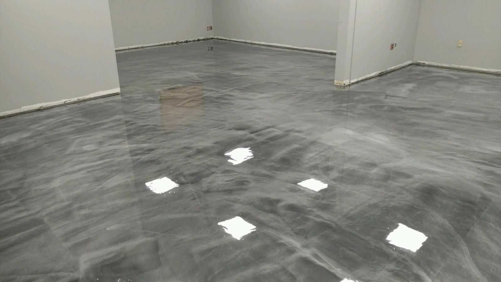 Commercial Retail Office Space Metallic Epoxy Gun Metal
