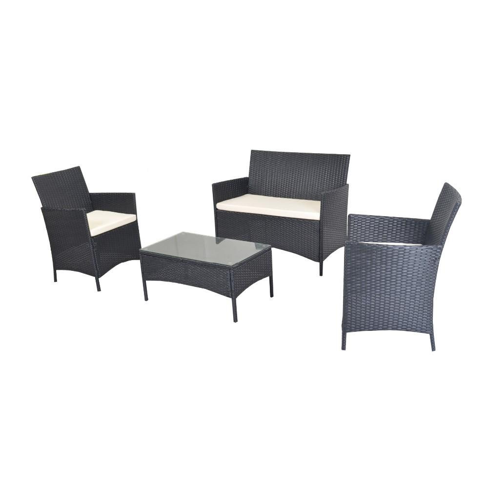 Compact 4pcs White Cushioned Outdoor Patio Furniture