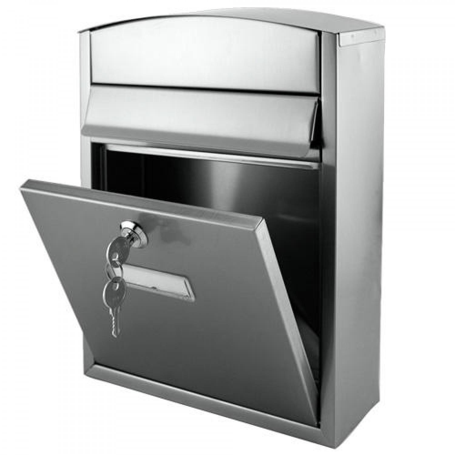 Compact Locking Wall Mount Mailbox Stainless Steel Outdoor