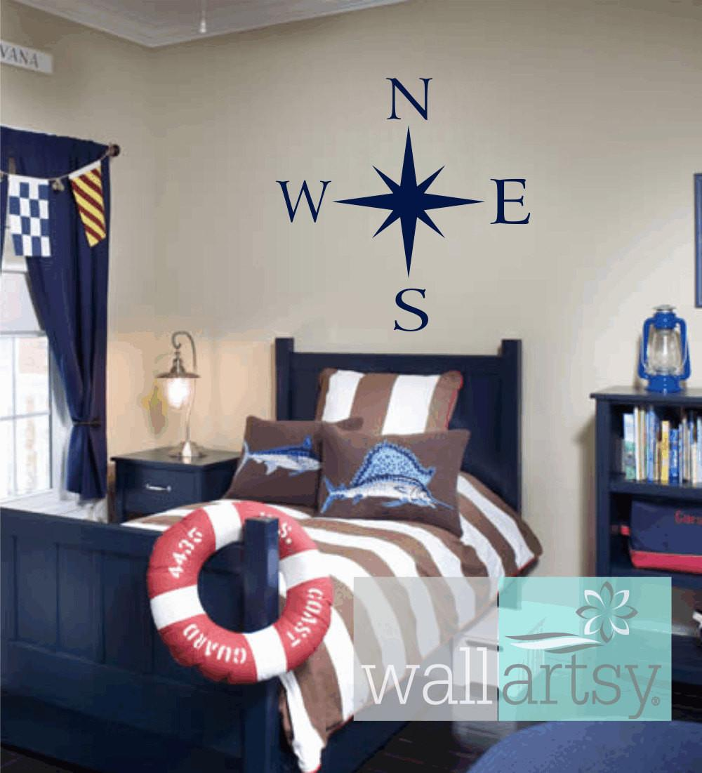 Compass Wall Decal Nautical Vinyl Decals Sailboat Girl