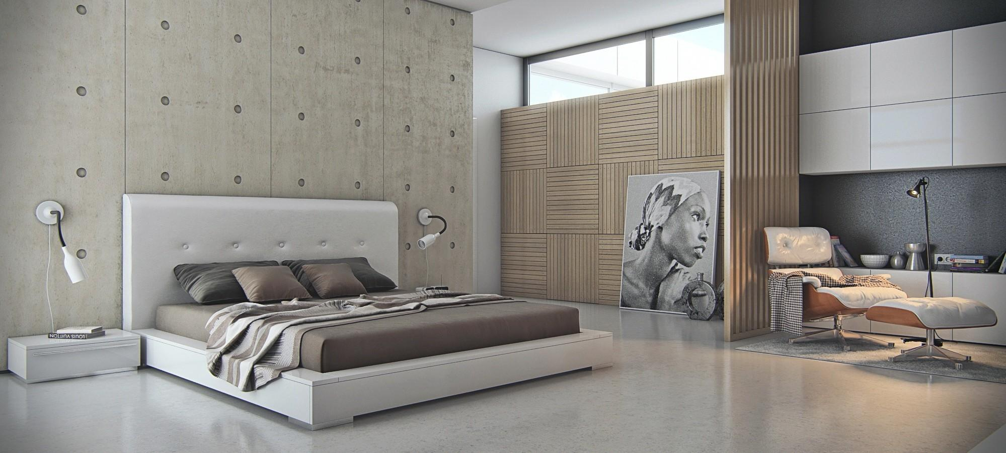 Concrete Bedroom Featre Wall Interior Design Ideas