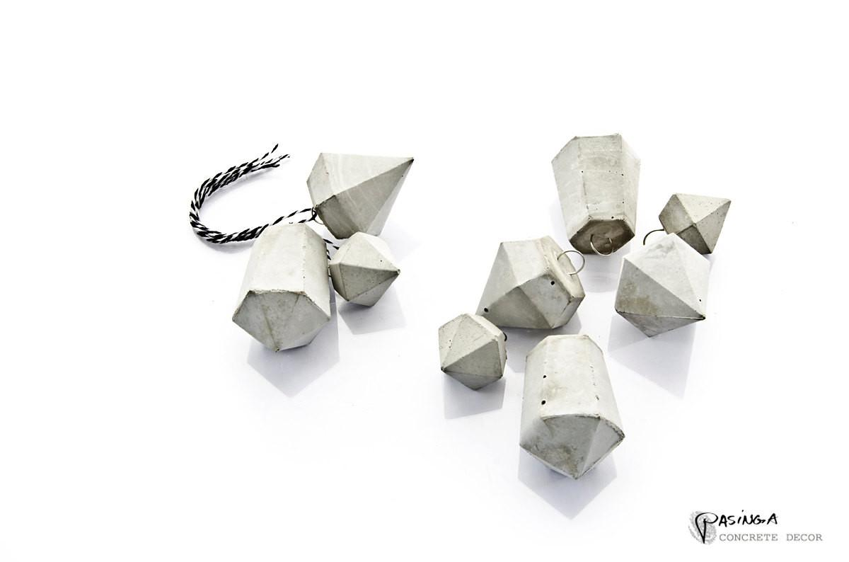 Concrete Diamond Pendants Modern Minimal Decor